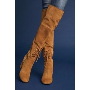 Anthropologie Elysess Camel tall Swede Boot